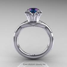 solitaire engagement ring with wedding band faegheh modern classic 14k white gold 1 0 ct russian alexandrite
