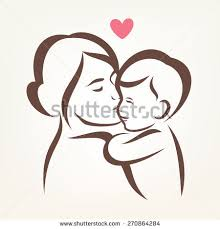 mother son stylized vector silhouette outlined stock vector