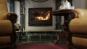 two chairs near the fireplace stock footage video 6622364