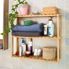 Bamboo Shelves Bathroom Amazonsmile Sobuy Frg28 B N Bamboo Mdf 3 Tiers Wall Shelves
