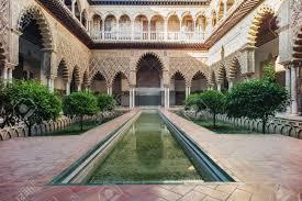moorish architecture amazing exle of the moorish architecture in seville stock photo