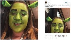 student gets pulled over in shrek makeup look teen vogue