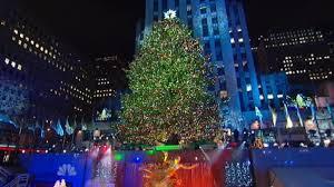 rockefeller center tree lights up nbc new york