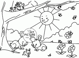 happy spring in forest coloring page for kids seasons coloring