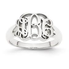 monogram signet ring personalized monogram signet ring in sterling silver or solid gold