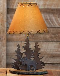 moose rustic metal lamp