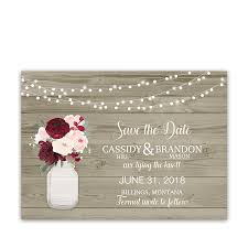 rustic save the dates rustic wedding save the dates jar flowers