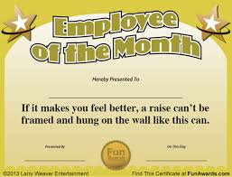 of the month employee of the month certificate free award template