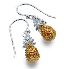 dangly earrings sterling silver jewellery silver and gold pineapple dangly earrings