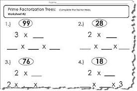 prime factor tree worksheet 1 of 5 pdf and answers