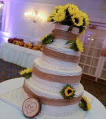 country sunflower wedding inspiration cake table sunflowers and