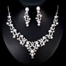 crystal choker necklace set images Crystal choker pearl decoration necklace set jpg