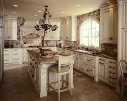 rustic look with antique white paint for kitchen cabinets with parquet flooring and sand granite countertop