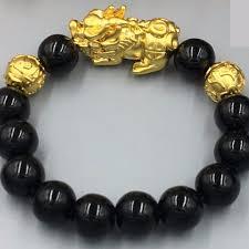 double gold bracelet images Natural obsidian double gold beads pixiu bracelets 12mm men 39 s jpg