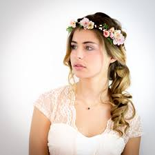 fleurs cheveux mariage image of appoline couronne de fleurs cheveux mariage pêche