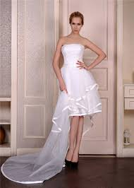 high and low wedding dress layered tulle with satin trim strapless