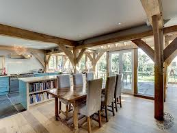 interior of oak framed new build house in cornwall