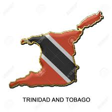 Flag For Trinidad And Tobago Map Shaped Flag Of Trinidad And Tobago In The Style Of A Metal