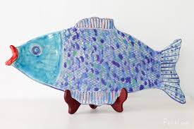 ceramic fish platter handmade ceramic fish platter blue periwinkle large picklee