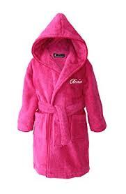personalised children u0027s hooded toweling bathrobe pink ages