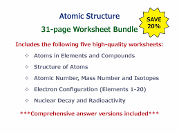 atoms in elements and compounds worksheet by