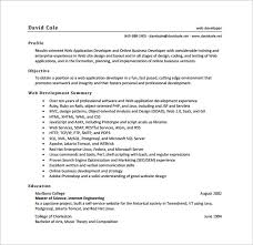 sample music resume for college application web developer resume template u2013 11 free word excel ps pdf