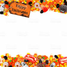 happy halloween tag with candy double border over white stock