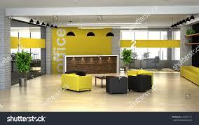 Yellow Reception Desk 3d Rendering Interior Modern Office Hall Stock Illustration