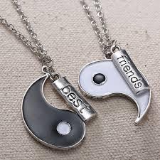 aliexpress yang 2pcs set best friends tai chi yin yang carved bar pendant split