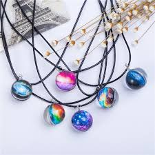 glass ball necklace images Planet crystal star ball glass galaxy pattern leather chain pendant ma jpg