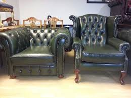 Armchair High Back Lovely 2 Piece Set Green Leather Chesterfield Large Club Chair