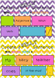 adjectives in sentences silly sentences writing sentences with nouns verbs and