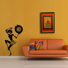 traditional dancing tribal lady art wall decal