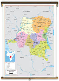 Republic Of Congo Map Dr Congo Political Educational Wall Map From Academia Maps