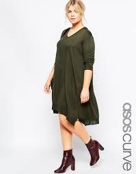 asos jumper dress in fine knit in green lyst
