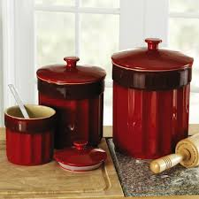 red kitchen canister sets ceramic floor decoration image of red kitchen canister sets