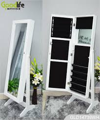 mirror and jewelry cabinet three multiple functions wooden mirrored jewelry cabinet