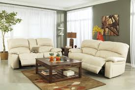 Leather Reclining Sofa Loveseat by Damacio Cream Glider Power Reclining Loveseat With Console From