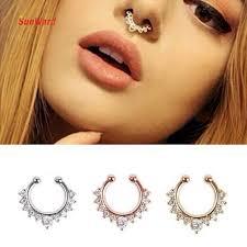 otoky high quality nose ring septum hanger clip silver gold