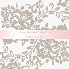 vector wedding invitation card with lace lily flower ornament