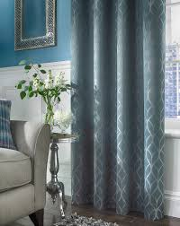 Teal Curtains Harlow Jacquard Thermal Lined Curtains J D Williams