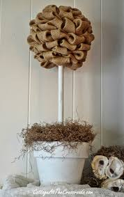 Mantel Topiaries - how to make a burlap topiary cottage at the crossroads