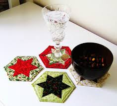 sewme crafts hexagon christmas star decorations coasters