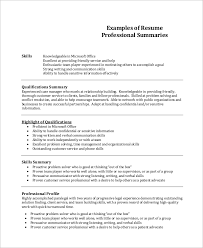 resume summary exles resume summary exle 8 sles in word pdf