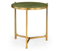 Large Side Table Green Faux Shagreen Gilded Side Table