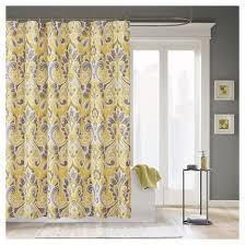 Gray Fabric Shower Curtain Yellow Gray Shower Curtain Target