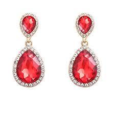 Long Chandelier Earrings Dangle Earrings Amazon Com Nlcac Women U0027s Red Crystal Wedding Earrings Dangle