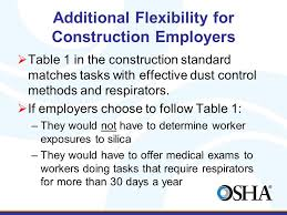 osha silica rule table 1 protecting workers exposed to respirable crystalline silica annette