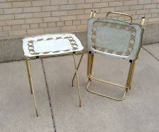Folding Tv Tray Table 2 Vintage Mid Century Atomic Folding Snack T V Tv Trays Stand