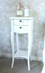 Small Nightstand Table Narrow Night Stand Crosby Ivory Linen Hollywood Regency